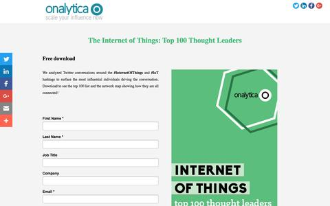 Screenshot of Landing Page onalytica.com - The Top 100 Internet of Things Thought Leaders #IoT - captured Aug. 18, 2016