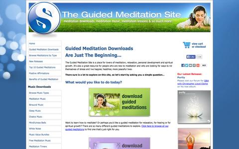 Screenshot of Home Page the-guided-meditation-site.com - The Guided Meditation Site - Meditation Downloads & Relaxing Music - captured Sept. 25, 2014