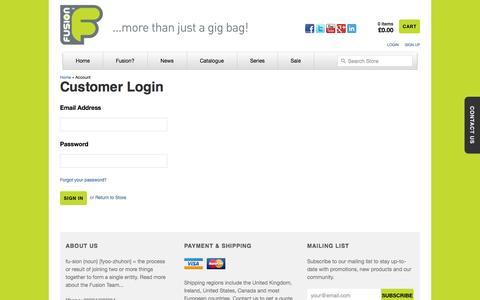 Screenshot of Login Page fusion-bags.com captured Oct. 6, 2014