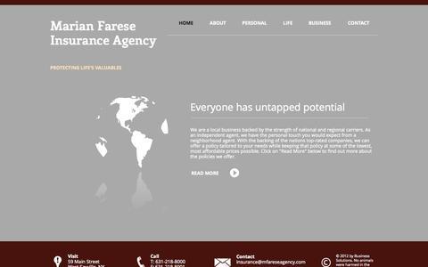 Screenshot of Home Page mfareseagency.com - Marian Farese Insurance Agency - captured Oct. 6, 2014