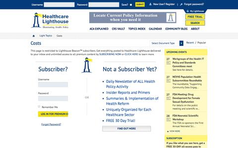 Screenshot of Pricing Page healthcarelighthouse.com - Costs   Healthcare Lighthouse - Part 1 - captured Oct. 28, 2014