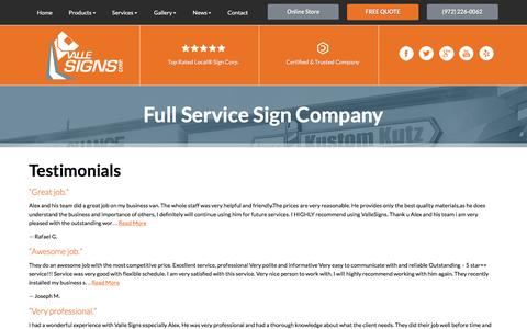 Screenshot of Testimonials Page vallesignstx.com - Testimonials   Valle Signs Corp. - captured Feb. 23, 2016