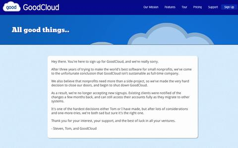 Screenshot of Signup Page agoodcloud.com - GoodCloud: All good things... - captured Nov. 11, 2016