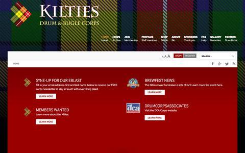 Screenshot of Home Page kilties.com - Home of the Kilties Drum & Bugle Corps - Kilties Drum & Bugle Corps - captured Sept. 6, 2015