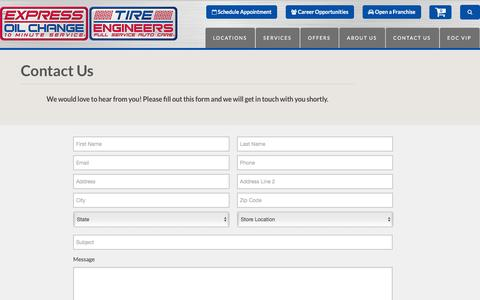 Screenshot of Contact Page expressoil.com - Contact Express Oil Change & Tire Engineers - captured Feb. 1, 2016