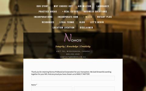 Screenshot of Signup Page nomoslaw.com - SIGN UP — Nomos Law - captured Sept. 29, 2018