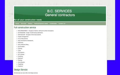 Screenshot of Services Page webs.com - Services - B.C. SERVICES  General contractors - captured Sept. 13, 2014