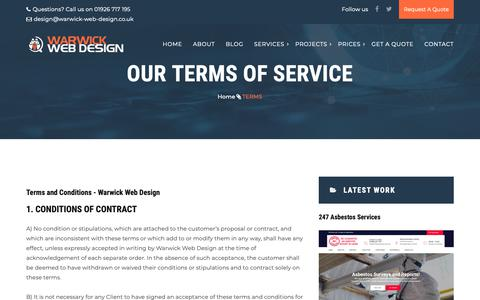 Screenshot of Services Page Terms Page warwick-web-design.co.uk - Warwick Web Design Terms and Conditions - captured Oct. 21, 2018