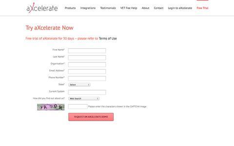Screenshot of Trial Page axcelerate.com.au - Trial - aXcelerate - captured Sept. 22, 2014