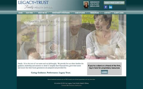 Screenshot of Home Page Case Studies Page legacytrustcompany.com - Legacy Trust Family Wealth Offices - Private Family Wealth Management Firm in Ponte Vedra, Florida - captured Oct. 1, 2014