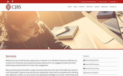 Screenshot of Services Page cjbs.com - Services | CJBS Accounting Firm | Chicago, IL - captured Nov. 9, 2018