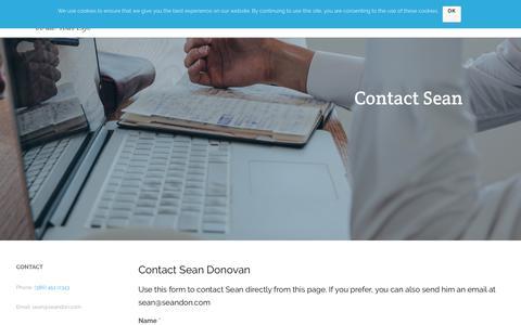Screenshot of Contact Page seandon.com - Contact Sean | SeanDon.com - captured Oct. 1, 2018