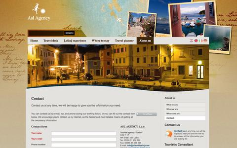 Screenshot of About Page Contact Page island-losinj.com - ContactContact @ Island Losinj - ASL Agency - captured Oct. 23, 2014
