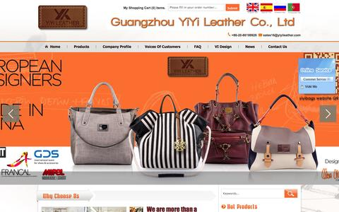 Screenshot of Home Page yiyibags.com - Handbag, bag, wallet, Chinese handbag supplier, Guangzhou handbag supplier Guangzhou YIYI LEATHER CO., LTD - captured Sept. 23, 2014
