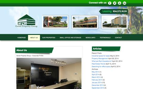 Screenshot of About Page genetgroup.com - Commercial Real Estate for Lease in South Florida   Genet Property Group - captured Oct. 2, 2014