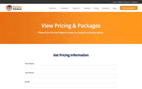 Screenshot of Pricing Page membersolutions.com - Pricing - Member Solutions - captured Sept. 6, 2019