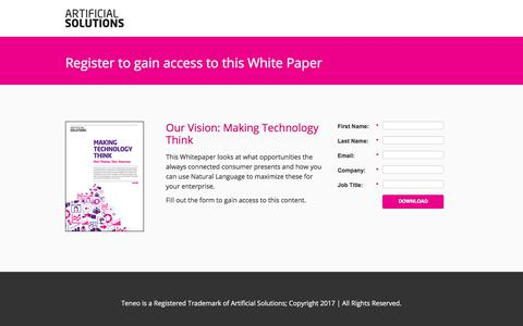 Screenshot of Landing Page artificial-solutions.com - Our Vision: Making Technology Think - captured June 30, 2017
