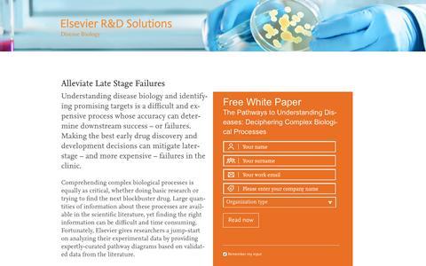 Screenshot of Landing Page elsevier.com - Promo Disease Biology - R&D Solutions | Elsevier - captured Aug. 5, 2016