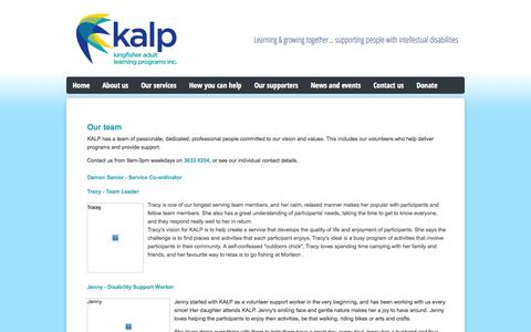 Screenshot of Team Page kalp.org.au - Our Team - captured Oct. 6, 2014