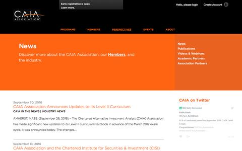 Screenshot of Press Page caia.org - News | CAIA Association - captured Oct. 16, 2016
