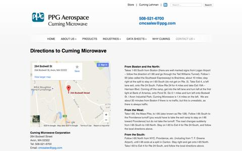 Screenshot of Maps & Directions Page cumingmicrowave.com - Directions to Cuming Microwave | Cuming Microwave Corporation - captured Nov. 14, 2016