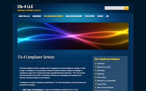 Screenshot of Services Page 17a-4.com - 17a-4 Compliance Services SEC FINRA D3P/LOU - captured Oct. 27, 2014