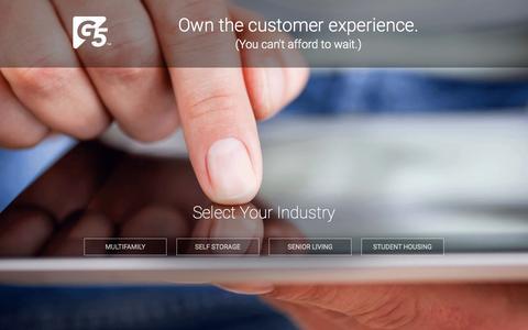 Screenshot of Home Page getg5.com - G5 | Digital Experience Management - captured July 15, 2015