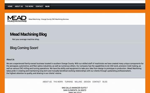 Screenshot of Blog meadmachining.com - BLOG - MEAD MACHINING - captured Oct. 27, 2014