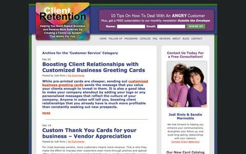 Screenshot of Support Page clientretentioninc.com - Customer Service - Client Retention - captured May 22, 2018