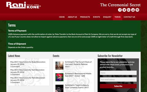 Screenshot of Terms Page ranikone.com - Terms | – Rani Kone – The Ceremonial Secret - captured Nov. 12, 2017