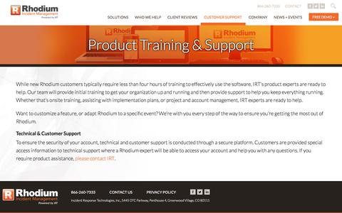 Screenshot of Support Page irtsoftware.com - Product Training & Support | Rhodium Incident Management - captured Sept. 25, 2018