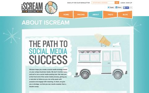Screenshot of About Page iscreamsocialapp.com - About Our Social Media Optimization Company | iScream Social - captured Feb. 11, 2016