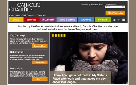 Screenshot of Home Page catholiccharities-md.org - Catholic Charities - captured Jan. 23, 2015