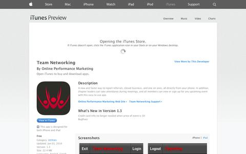 Screenshot of iOS App Page apple.com - Team Networking on the App Store on iTunes - captured Oct. 26, 2014