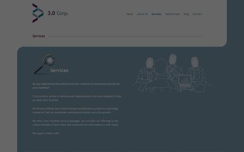 Screenshot of Services Page 3point0.ca - Services - 3.0 Corp - captured Nov. 5, 2014