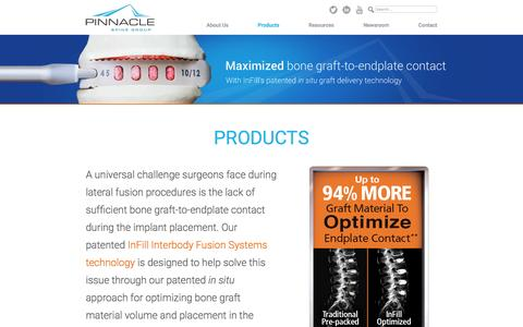 Screenshot of Products Page pinnaclespinegroup.com - Products - Pinnacle Spine Group - captured Dec. 6, 2016