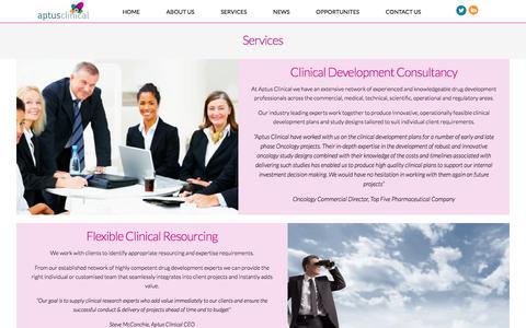Screenshot of Services Page aptusclinical.com - Services   Aptus Clinical - captured Feb. 6, 2016