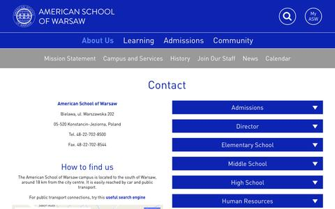 Screenshot of Contact Page aswarsaw.org - Contact - American School of Warsaw - captured Nov. 20, 2016