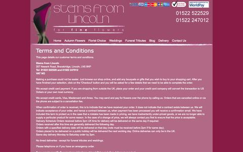 Screenshot of Terms Page stems.co.uk - Customer Terms and Conditions - Stems from Lincoln Florist - captured Oct. 7, 2014