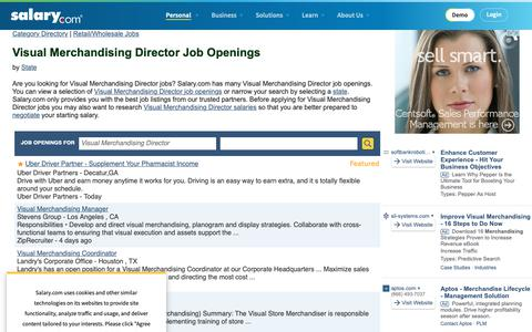 Screenshot of Jobs Page salary.com - Visual Merchandising Director Job Openings | Salary.com - captured Oct. 26, 2018