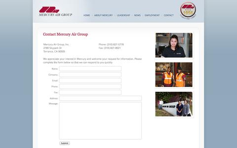 Screenshot of Contact Page mercuryairgroup.com - Mercury Air Group - Contact Us - captured Oct. 4, 2014