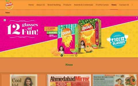 Screenshot of Press Page rasnainternational.com - News - Rasna International - Beverages, Instant Fruit Drink Powder, Soft Drinks and Health Drinks - captured Oct. 19, 2017