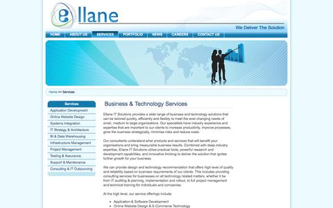 Screenshot of Services Page ellane.com.au - Ellane IT Solutions - Services - captured May 20, 2016