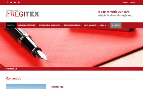 Screenshot of Contact Page regitex.com - Contact Us - Regitex - captured Nov. 7, 2017