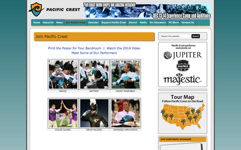 Screenshot of Signup Page pacific-crest.org - Join Pacific Crest  |  Pacific Crest Youth Arts Organization - captured Nov. 1, 2014