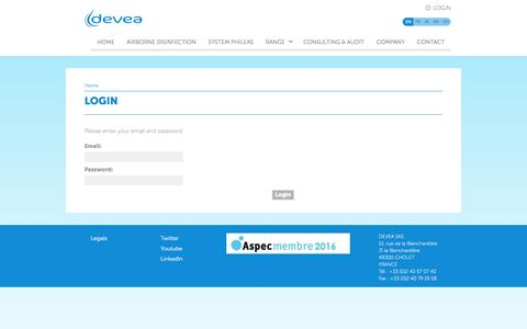 Screenshot of Login Page devea-environnement.com captured July 31, 2016