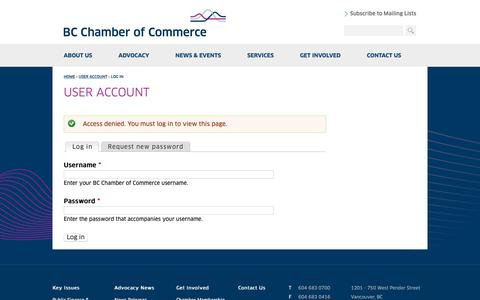 Screenshot of Login Page bcchamber.org - User account | BC Chamber of Commerce - captured Oct. 4, 2018