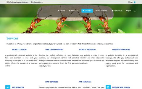 Screenshot of Services Page creativewebmindz.com - Website Design | Development | Digital Marketing Services - captured Jan. 22, 2017