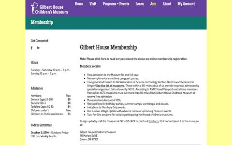 Screenshot of Signup Page acgilbert.org - Gilbert House Children's Museum   –  Membership - captured Oct. 3, 2014