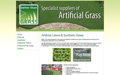 Screenshot of Home Page betterthangrass.co.uk - Better Than Grass | Artificial Grass Installation | Newark | Nottinghamshire | East Midlands - captured Sept. 30, 2014